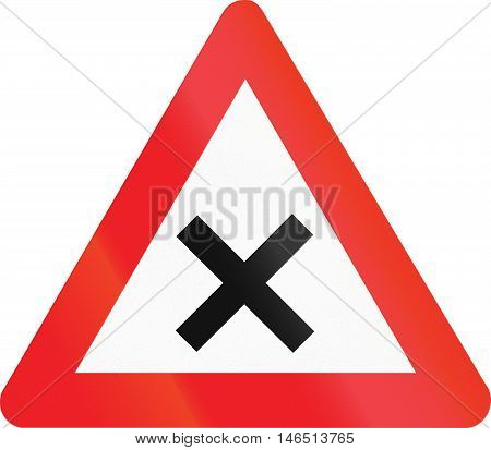Belgian Regulatory Road Sign - Crossroads With Right-of-way From The Right