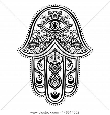 Ornament card with hamsa. Geometric circle element made in vector. Talisman ornamental symbol Eye protection.