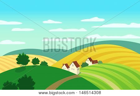 Autumn landscape. Cartoon farm houses silhouettes. Country winding road on meadows and fields. Rural community view among hills. Village countryside scene background. Vector Illustration