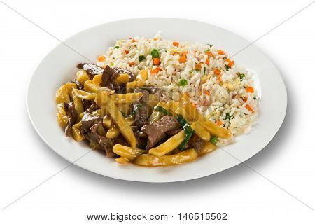 delicious Chinese food with meat potato and rice colored.