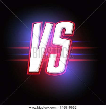 Neon Versus Logo. VS Vector Letters Illustration. Competition Icon