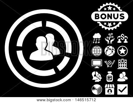 Demography Diagram icon with bonus. Vector illustration style is flat iconic symbols, white color, black background.