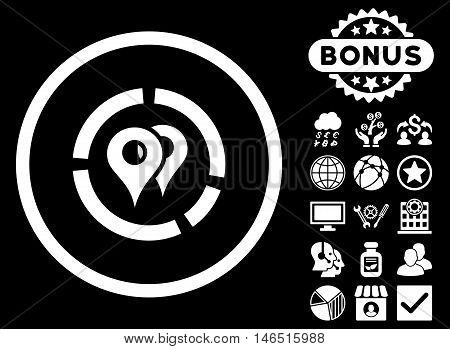 Geo Diagram icon with bonus. Vector illustration style is flat iconic symbols, white color, black background.
