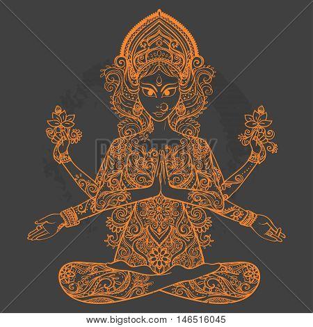 Ornament card with of Maa Durga. Illustration of Happy Navratri. Happy Maha Shivaratri