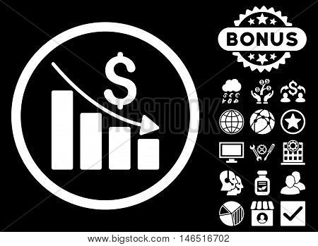Recession Chart icon with bonus. Vector illustration style is flat iconic symbols, white color, black background.