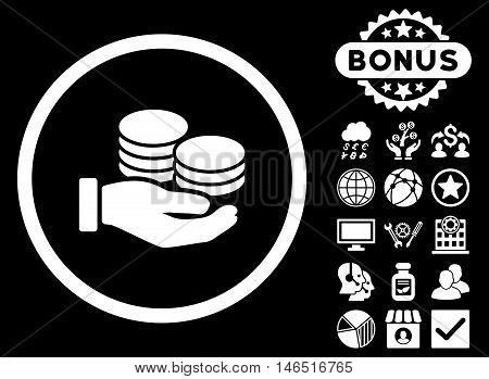 Salary Coins icon with bonus. Vector illustration style is flat iconic symbols, white color, black background.