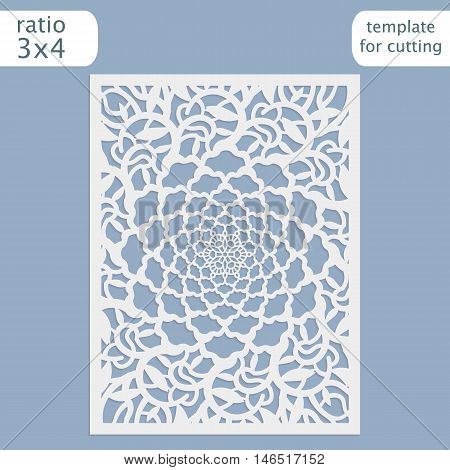 Laser cut wedding invitation card template vector. Cut out the paper card with lace pattern. Greeting card template for cutting plotter. Silhouette with flower pattern.