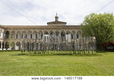 MILAN, ITALY - APRIL 14 2015: Garden of the Public University of Milan set up during the period of Design Week in the city