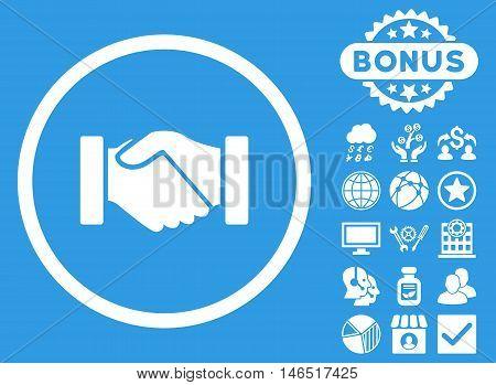 Acquisition Handshake icon with bonus. Vector illustration style is flat iconic symbols, white color, blue background.