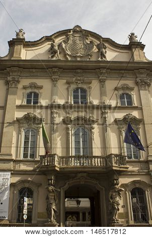 MILAN, ITALY - APRIL 16 2015: Palazzo Arese Litta in Milan view of the main doorway with statues