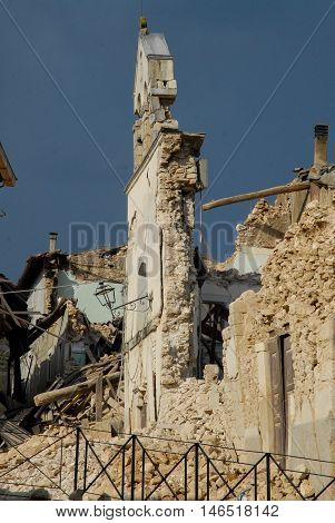 City destroyed by an earthquake, what remains of a church