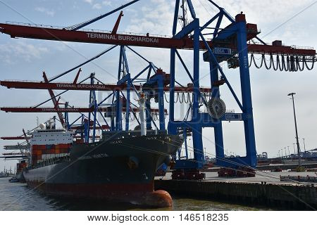 HAMBURG, GERMANY - AUG 27: Port of Hamburg in Germany, as seen on Aug 27, 2016. It is Germanys largest port and is named the countrys Gateway to the World.