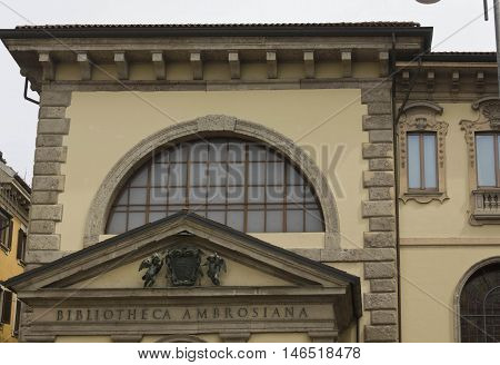 MILAN, ITALY - APRIL 16 2015: Architectural close up of Biblioteca Ambrosiana building in Milan historic library in the city centre