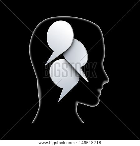 concept speaking and communication. Head clouds. Illustration