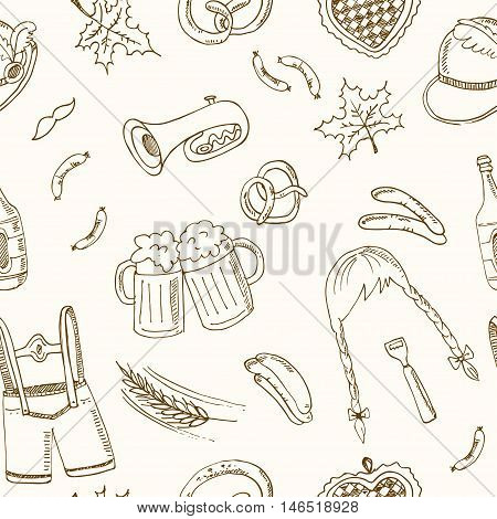 October fest doodle seamless pattern. Vintage illustration for identity, design, decoration, packages product and interior decorating