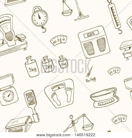 Doodle weighing machine seamless pattern Vintage illustration for identity, design, decoration, packages product and interior decorating