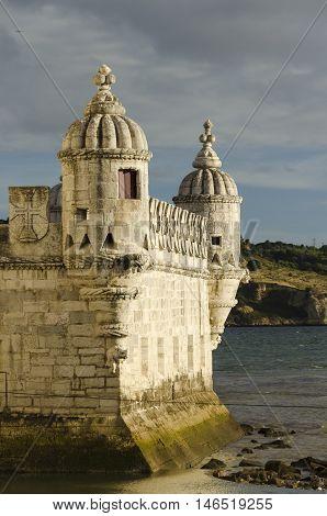 details of the belem tower at sunset symbol of lisbon