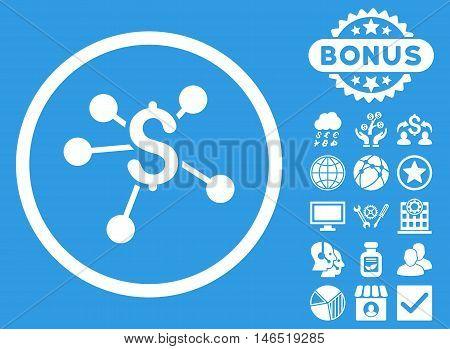 Money Emission icon with bonus. Vector illustration style is flat iconic symbols, white color, blue background.