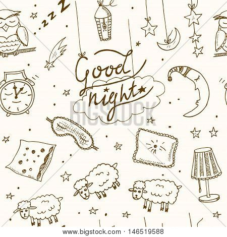 Doodle seamless pattern images about good night Vector illustration