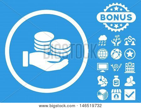 Salary Coins icon with bonus. Vector illustration style is flat iconic symbols, white color, blue background.