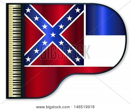 The Mississippi flag set into a traditional black grand piano