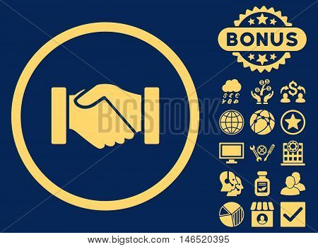 Acquisition Handshake icon with bonus. Vector illustration style is flat iconic symbols, yellow color, blue background.