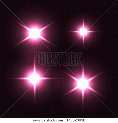Realistic lens flares beams and flashes. Isolated. Editable - very easy to use.