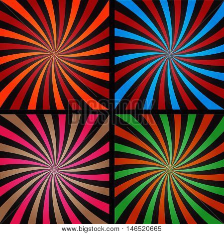 Comic book explosion superhero pop art style colored radial lines background. Manga or anime speed frame.