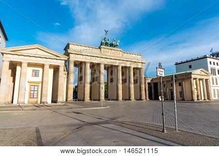 The famous Brandenburger Tor in Berlin in the early morning