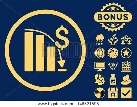 Epic Fail Chart icon with bonus. Vector illustration style is flat iconic symbols, yellow color, blue background.