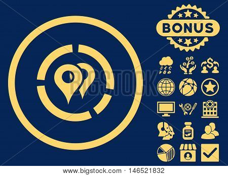 Geo Diagram icon with bonus. Vector illustration style is flat iconic symbols, yellow color, blue background.