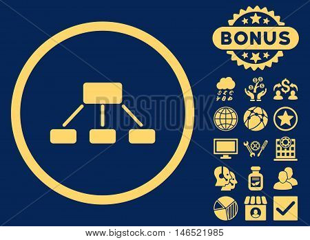 Hierarchy icon with bonus. Vector illustration style is flat iconic symbols, yellow color, blue background.