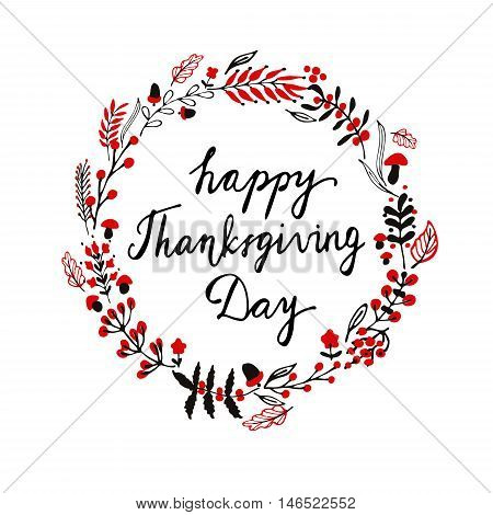 Autumnal round frame for Thanksgiving Day. Wreath of autumn leaves. Background with hand drawn autumn leaves.Vector illustration with mushroom acorn and handwritten word