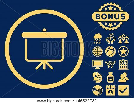 Projection Board icon with bonus. Vector illustration style is flat iconic symbols, yellow color, blue background.