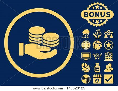 Salary Coins icon with bonus. Vector illustration style is flat iconic symbols, yellow color, blue background.