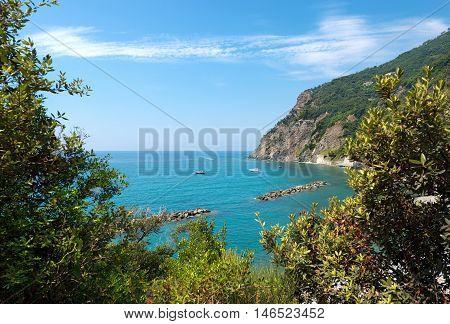 Aerial view of the coast (Arena Beach) in Framura small village in Liguria La Spezia Italy