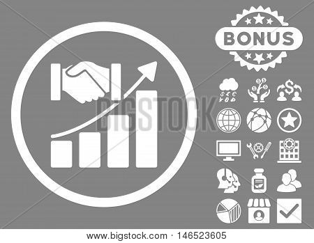 Acquisition Growth icon with bonus. Vector illustration style is flat iconic symbols, white color, gray background.