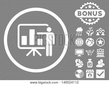 Bar Chart Presentation icon with bonus. Vector illustration style is flat iconic symbols, white color, gray background.
