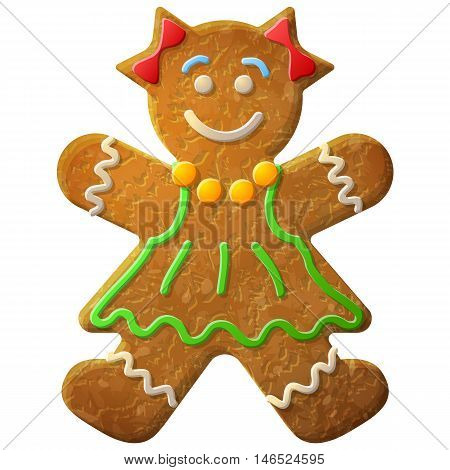 Gingerbread woman decorated colored icing. Holiday cookie in shape of girl. Qualitative vector illustration for new years day christmas winter holiday cooking new years eve food silvester etc