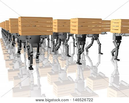 Grey robots with yellow casegoods on white reflective background, 3D illustration.