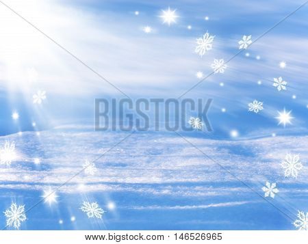 Positive winter background with track Santa hurrying for Christmas./ Snowstorm. Christmas background. Snow stars snowflakes/.