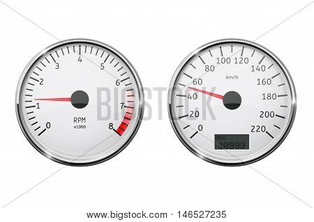 Tachometer and speedometer. Vector illustration isolated on white background