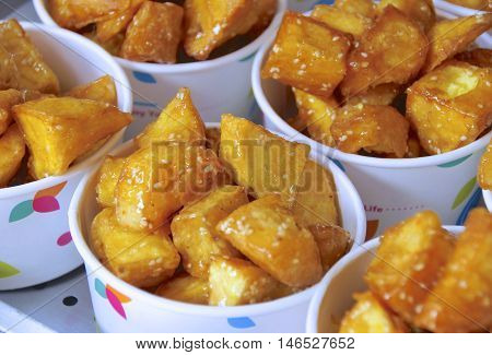 Sweet potato closeup for sale  in market.