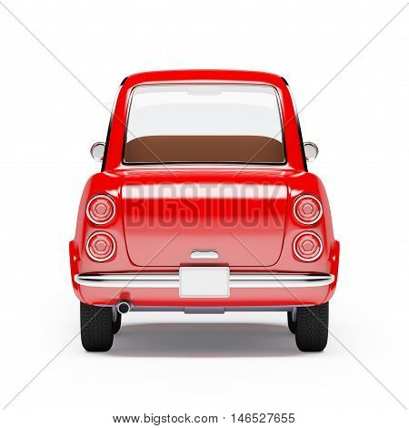 retro car red in 60s style isolated on a white background. Back view. 3d illustration.