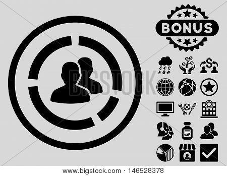 Demography Diagram icon with bonus. Vector illustration style is flat iconic symbols, black color, light gray background.