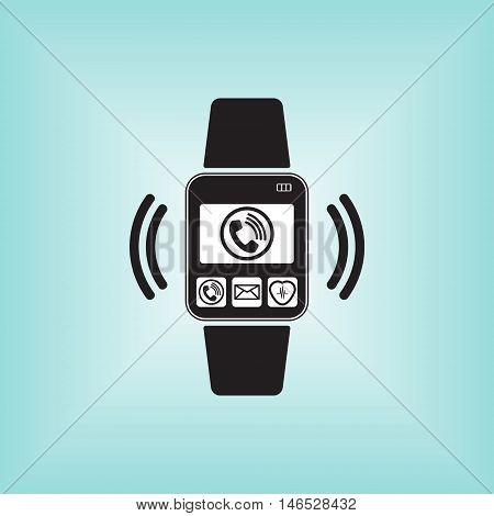 Smart watch logo with call sign. Smart watch vector sign. Smart watch isolated.