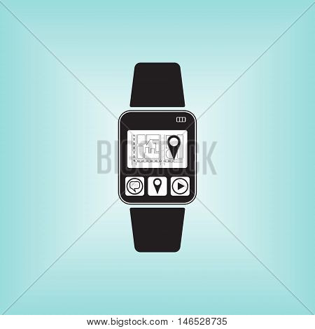 Smart watch logo with geolocation sign. Smart watch vector sign. Smart watch isolated.
