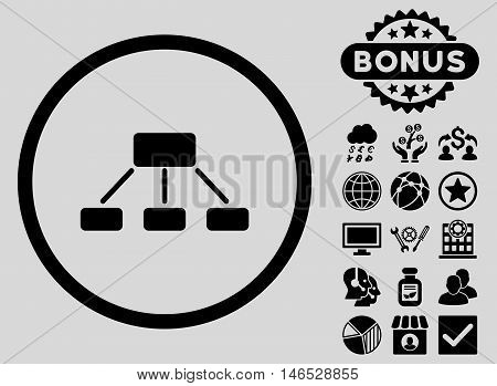 Hierarchy icon with bonus. Vector illustration style is flat iconic symbols, black color, light gray background.