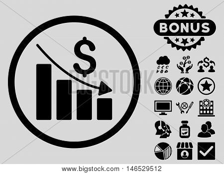 Recession Chart icon with bonus. Vector illustration style is flat iconic symbols, black color, light gray background.