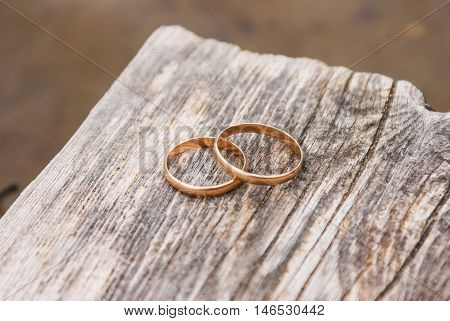 Two gold wedding rings lying on a wooden board of pier